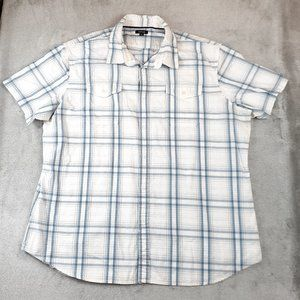 Apt. 9 Blue White Plaid Short Sleeve Top XXL